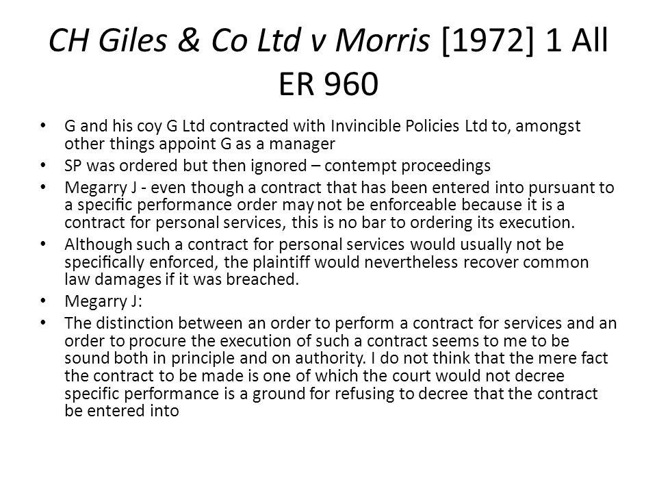 CH Giles & Co Ltd v Morris [1972] 1 All ER 960